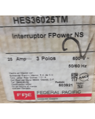 INTERRUPTOR TERMOMAGNETICO HES36025TM MCA. FEDERAL PACIFIC