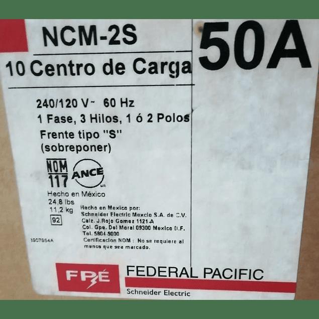 CENTRO DE CARGA 2P 50A 240/120VCA MCA. FEDERAL PACIFIC