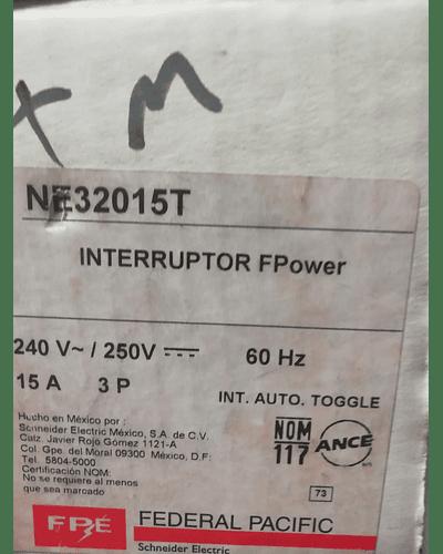 Interruptor Termomagnetico MOD. NE32015T MCA. FEDERAL PACIFIC