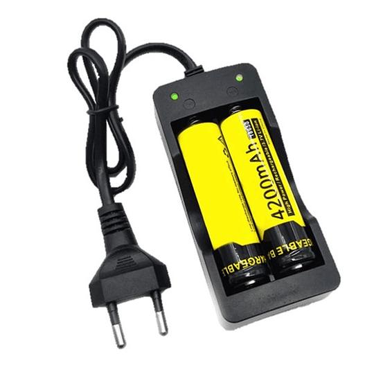 Cargador Doble Baterias 18650 + Cable