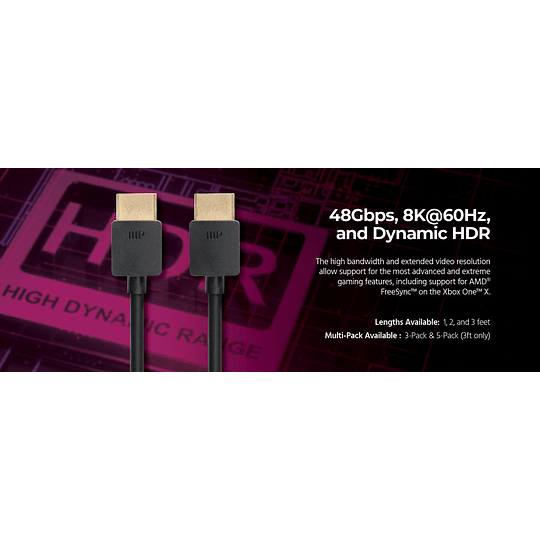 Monoprice Ultra Slim Series Ultra 8K High Speed HDMI Cable, 48Gbps, 8K, Dynamic HDR, eARC, 3ft Black