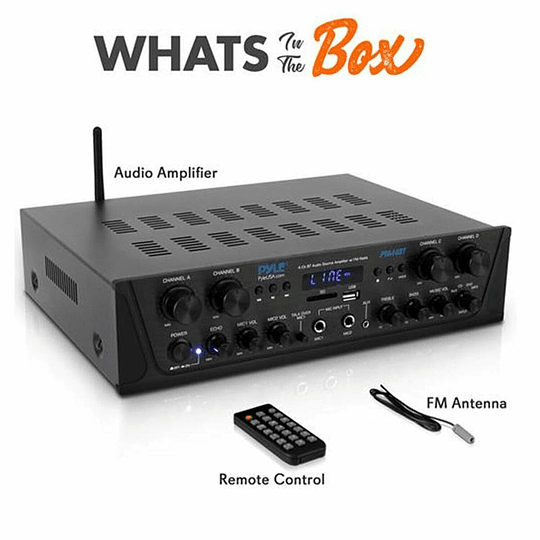 Receiver Pyle PTA44BT.5 ,4 canales, 500 watts, Bluetooth