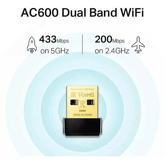 Adaptador Wifi Usb Tp-link T2u Nano Dual Band Archer Ac600