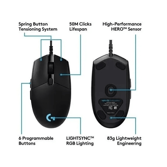 Mouse Logiteh G Pro Hero 16k Negro _ Electromundo