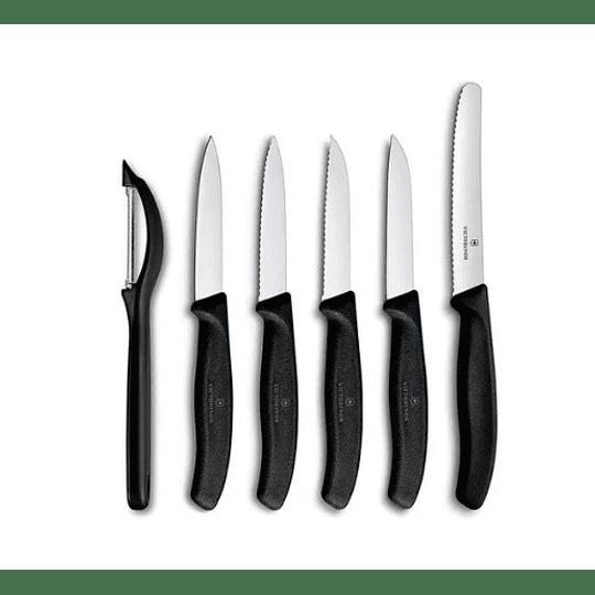 Cuchillos Victorinox Mondadores Negro, 6 Piez.- Electromundo