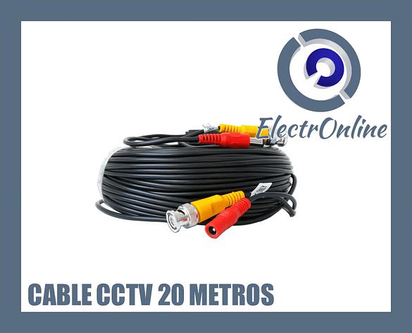 Cable de 20 metros para cámaras CCTV BNC + DC