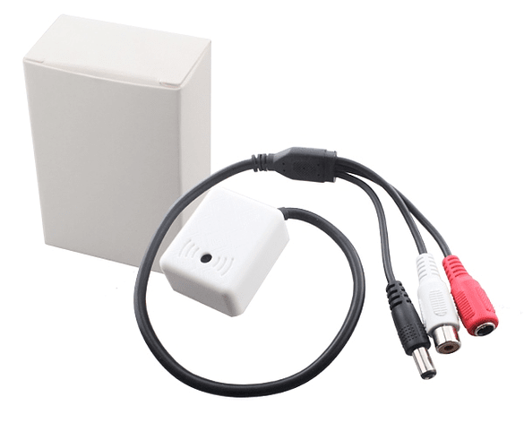 Micrófono activo para cámara CCTV con conector de I/O DC & RCA