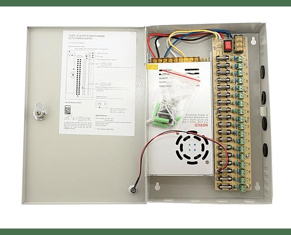 Fuente de poder para 16 cámara CCTV DC12V 30A