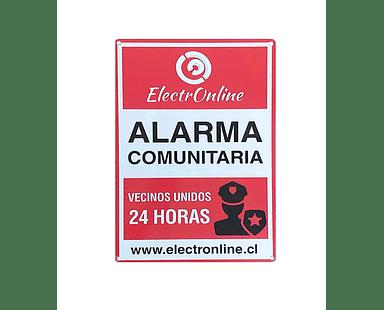 Cartel Disuasivo Metálico Exterior Rectangular Alarma Comunitaria