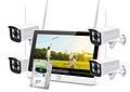 Kit 4 Cámaras Inalámbricas Rompe Muro NVR IP WIFI HD 1080P 2.0 MP Disco Duro 2TB Pantalla Touch 12 Pulgadas 3 en 1