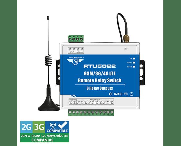 Sistema de Control Remoto 3G SMS con 8 Salidas de Relé RTU 5022