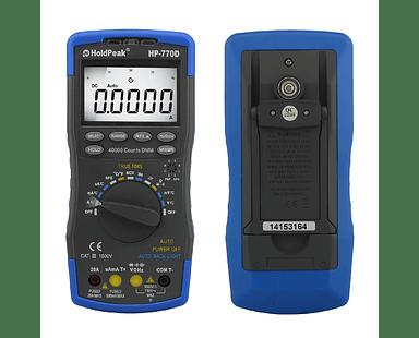 Multímetro Digital 770D Temperatura, AC RMS DC & AC voltaje y Corriente, Resistencia, Capacitancia, Continuidad Diodo Transistor hFE