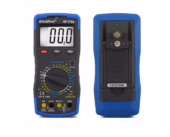 Multímetro Digital 770A DC & AC voltaje y Corriente, Resistencia, Capacitancia, Continuidad Diodo Transistor hFE
