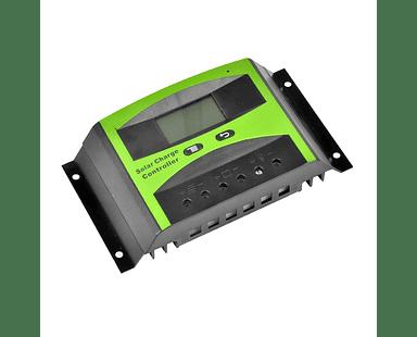 Controlador de Carga Solar PWM LCD, 40A 12V/24V