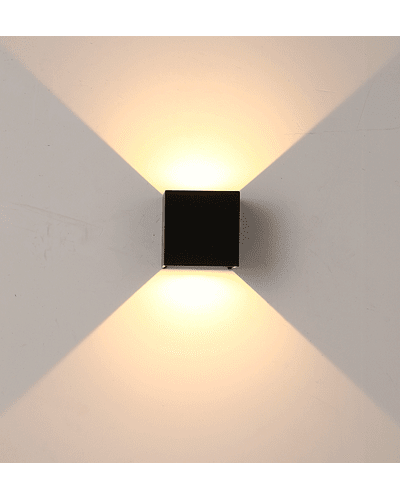 APLIQUE DECORATIVO BIDIRECCIONAL CUBE 10W LUZ FRÍA IP65 NEGRO