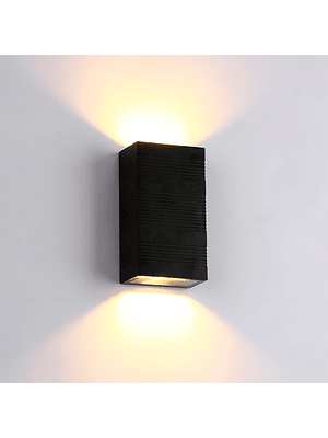 APLIQUE DECORATIVO BIDIRECCIONAL RECTANGULAR 10W LUZ FRÍA IP65 NEGRO