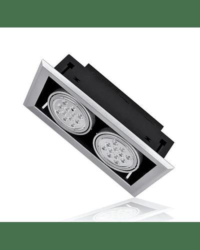 PUZZLE LED DOBLE EMBUTIDO 24W INTEGRADO GRIS IP33
