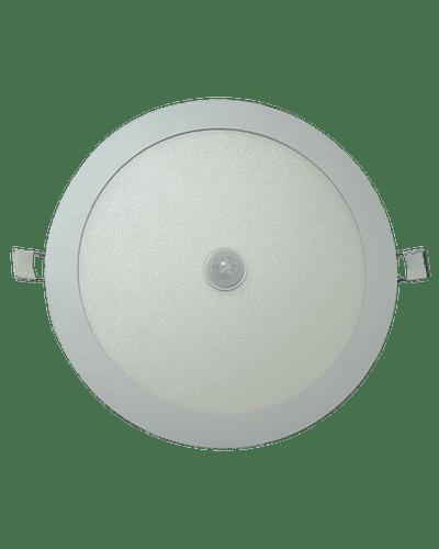 PANEL LED REDONDO EMBUTIDO 18W CON SENSOR MOVIMIENTO IP33 BLANCO