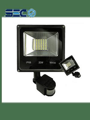 PROYECTOR LED SLIM SMD 20W IP66 C/ SENSOR DE MOVIMIENTO LUZ FRÍA