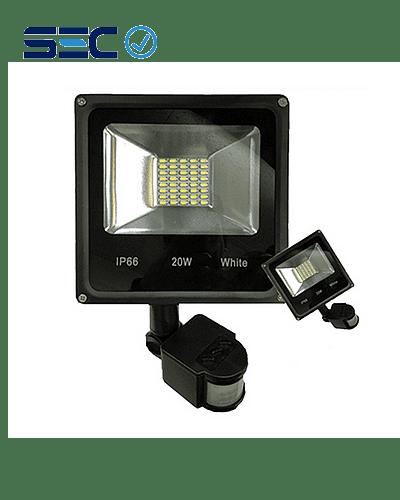 PROYECTOR LED SLIM SMD 20W LUZ FRÍA IP66 C/ SENSOR DE MOVIMIENTO