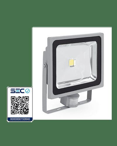 PROYECTOR LED COB 50W GRIS IP65 CON SENSOR DE MOVIMIENTO