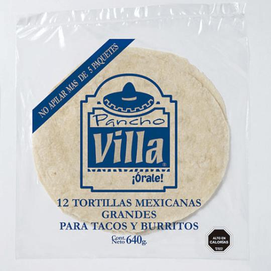 Tortillas mexicanas grandes Pancho Villa Carozzi 640 g