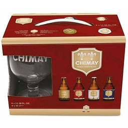 Pack 4 Mix Chimay 330 ml  + 1 copa de regalo - Bélgica