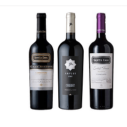 Mix 3 Vinos Santa Ema Carmenere Amplus, Gran Reserva, Terroir