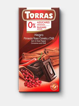 Chocolate Negro pimienta rosa, canela y chilli 0% azúcar