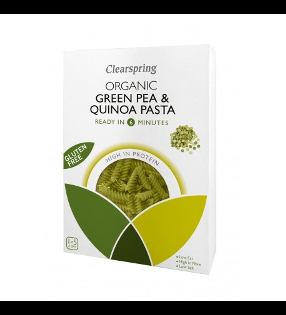 Pasta Fusilli vegetal a base de lentejas y quínoa, Clearspring