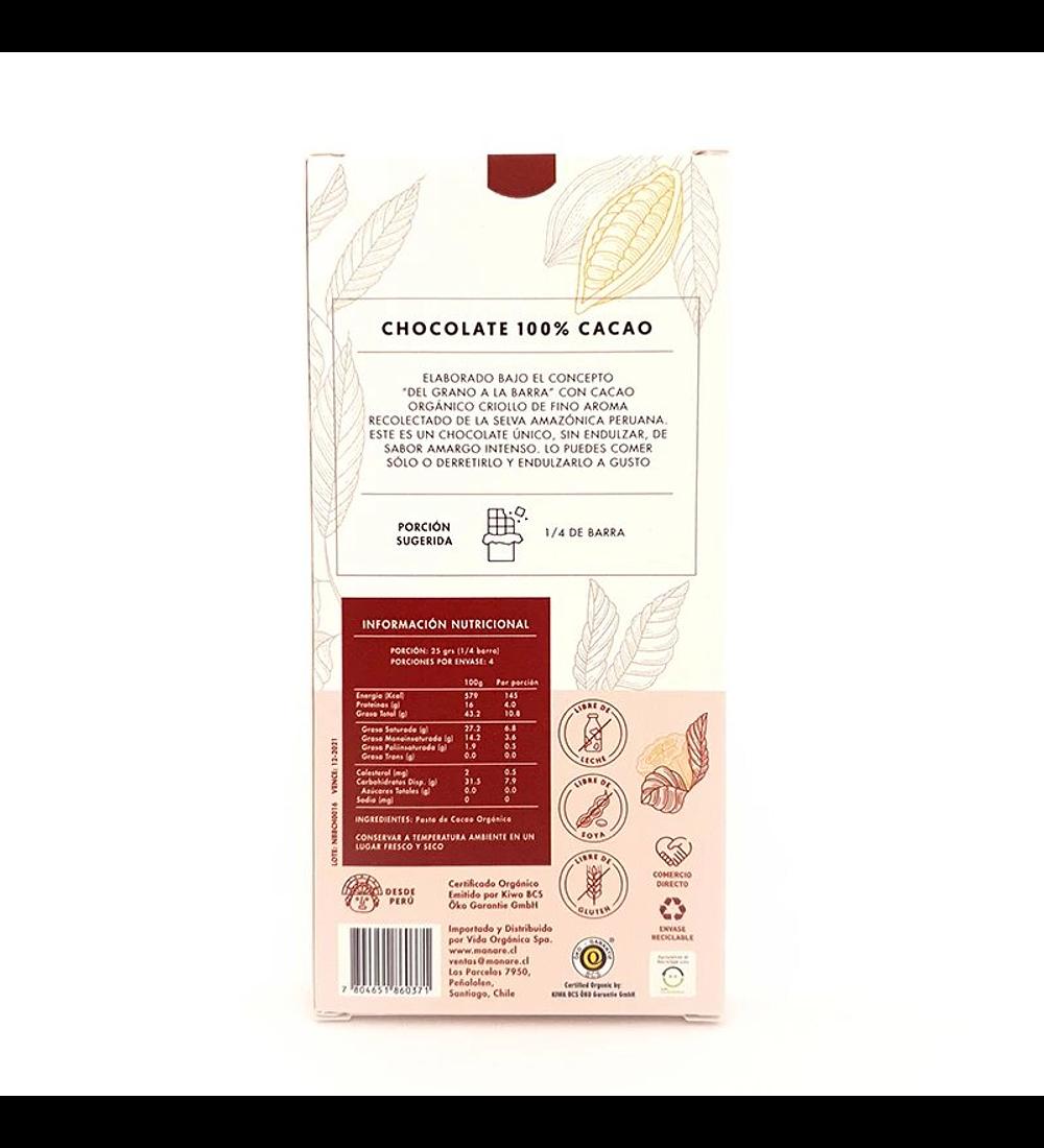 Barra de chocolate orgánico 100% cacao