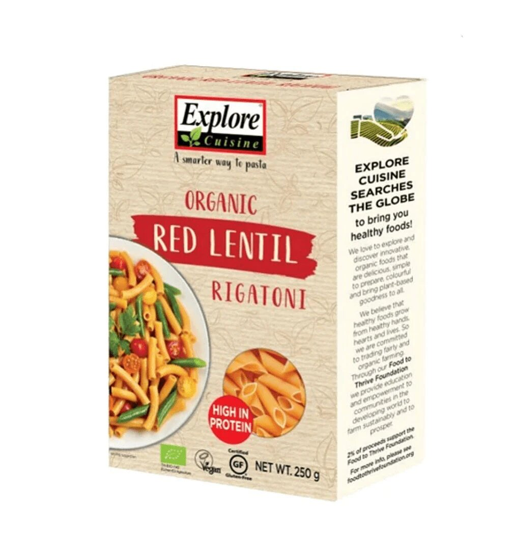 Pasta Rigatoni Lenteja Roja 250g