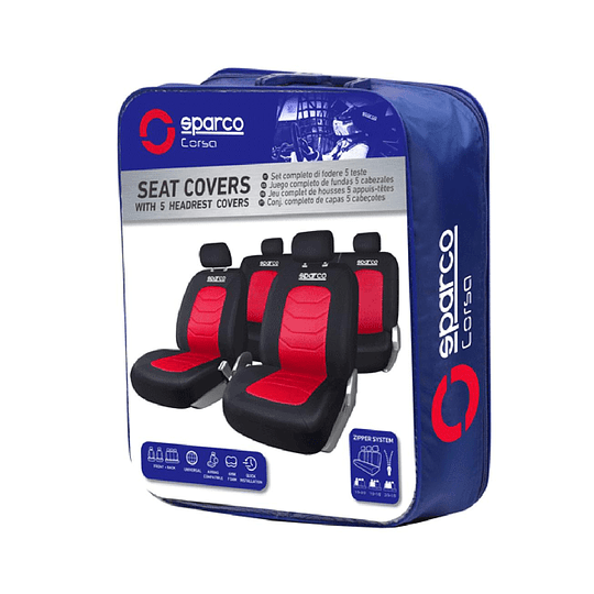 Funda Cubre Asiento Universal SPC3502RD Negro-Rojo Sparco