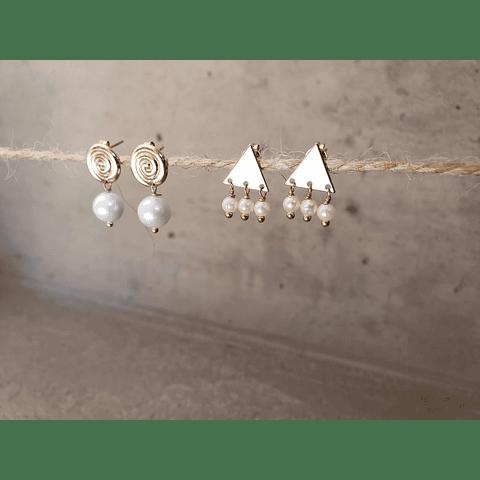 Aro triángulo 3 perlas