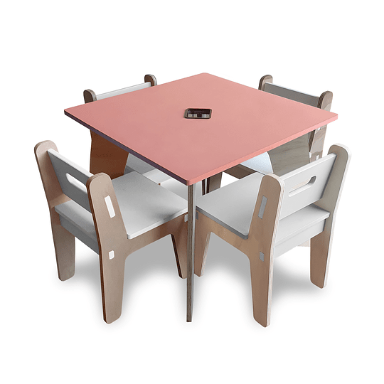 Mesa Bal PinkOrange + 4 Sillas Gapra - Image 1