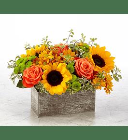 Girasoles y Rosas en Base Rectangular