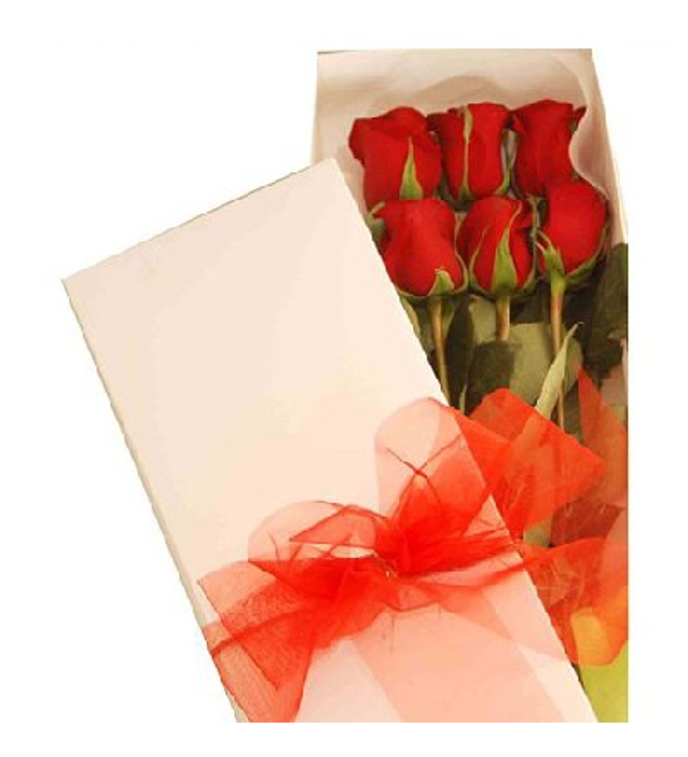 Caja de 6 Rosas Variedad de Colores