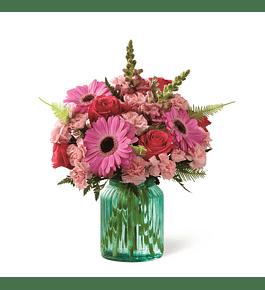 Florero Primaveral tonos rosados y verde agua
