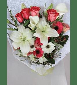 Ramo Rosas, Liliums y Gerberas