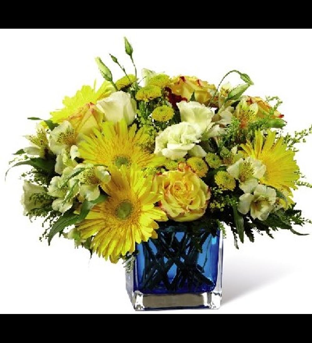 Florero Azul con Flores Mixtas