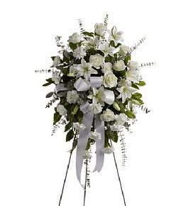 Corona de Flores en Atril con Cinta