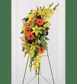 Arreglo Floral Media Luna en Atril