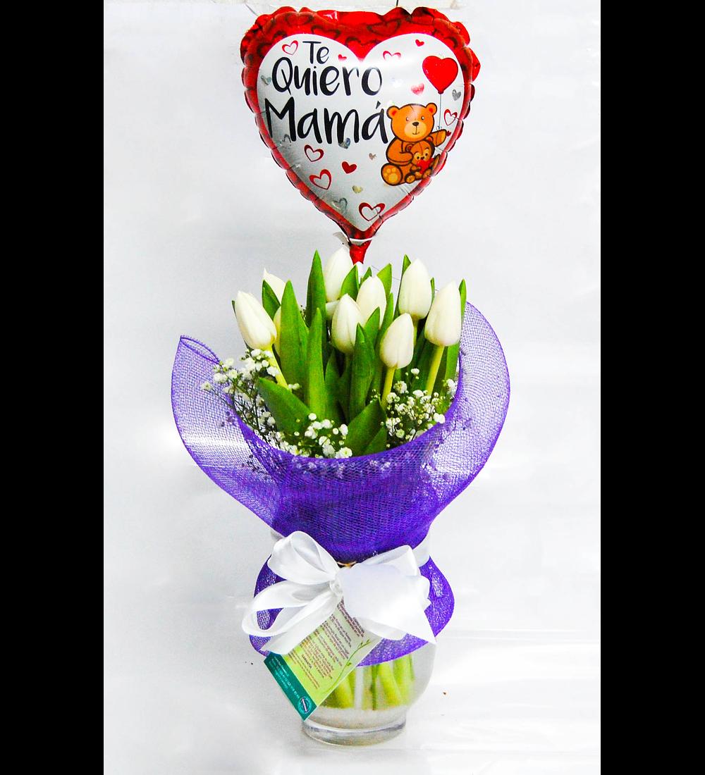 Florero 10 Tulipanes y Globo Mamá
