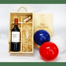 Caja Dominó Vino, Copa y Chocolates