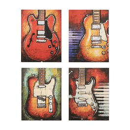 Canvas Decorativo Guitarras Eléctricas 4 Pcs