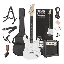 Pack Guitarra Eléctrica PRO BLANCA con Amplificador