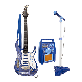 Set De Guitarra Y Micrófono Rock Guitar AZUL