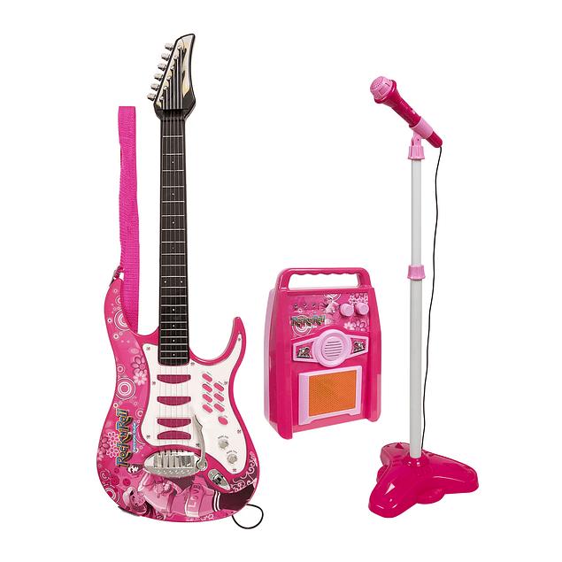 Set De Guitarra Y Micrófono Rock Guitar Rosada
