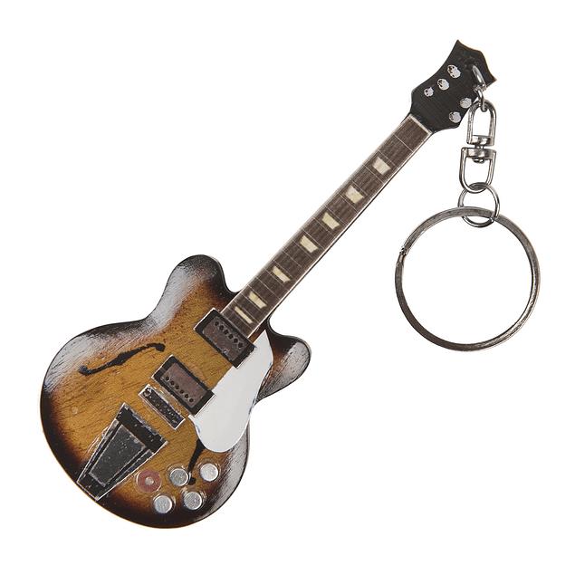 Llavero de guitarra en miniatura de madera 355