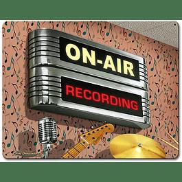 Letrero metálico ON RECORDING